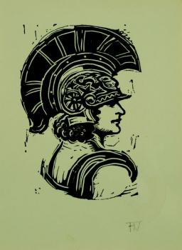 Portrait of a female in a Roman helmet