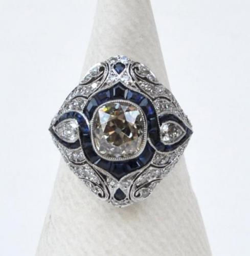 Platin Ring - Platin, Diamant - 1950